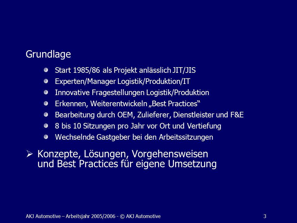 """AKJ Automotive – Arbeitsjahr 2005/2006 - © AKJ Automotive3 Grundlage Start 1985/86 als Projekt anlässlich JIT/JIS Experten/Manager Logistik/Produktion/IT Innovative Fragestellungen Logistik/Produktion Erkennen, Weiterentwickeln """"Best Practices Bearbeitung durch OEM, Zulieferer, Dienstleister und F&E 8 bis 10 Sitzungen pro Jahr vor Ort und Vertiefung Wechselnde Gastgeber bei den Arbeitssitzungen  Konzepte, Lösungen, Vorgehensweisen und Best Practices für eigene Umsetzung"""