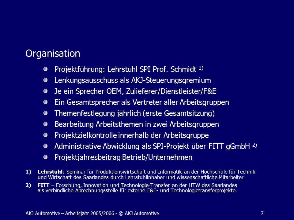AKJ Automotive – Arbeitsjahr 2005/2006 - © AKJ Automotive7 Organisation Projektführung: Lehrstuhl SPI Prof.