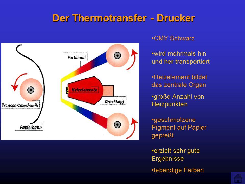Der Thermotransfer - Drucker CMY Schwarz wird mehrmals hin und her transportiert Heizelement bildet das zentrale Organ große Anzahl von Heizpunkten geschmolzene Pigment auf Papier gepreßt erzielt sehr gute Ergebnisse lebendige Farben