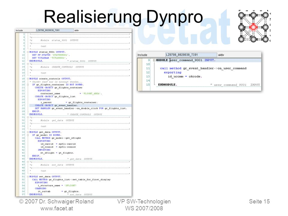 Seite 15 Realisierung Dynpro © 2007 Dr.