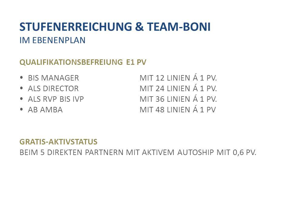 STUFENERREICHUNG & TEAM-BONI IM EBENENPLAN QUALIFIKATIONSBEFREIUNG E1 PV  BIS MANAGERMIT 12 LINIEN Á 1 PV.