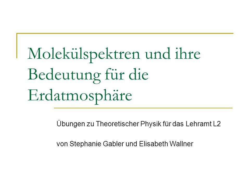Molekülspektren und ihre Bedeutung für die Erdatmosphäre Übungen zu Theoretischer Physik für das Lehramt L2 von Stephanie Gabler und Elisabeth Wallner