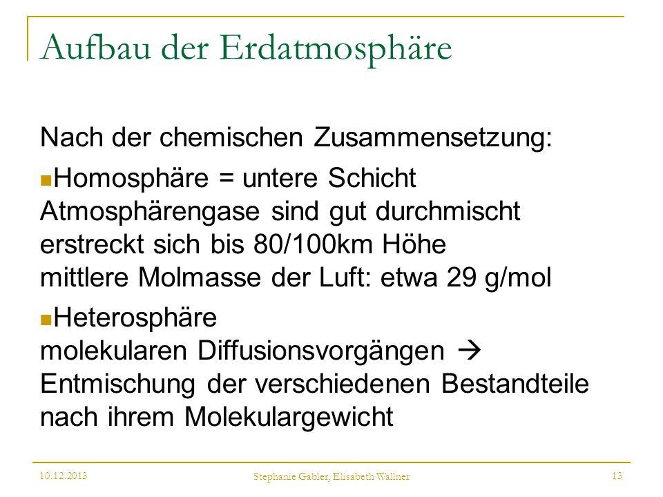 Aufbau der Erdatmosphäre Nach der chemischen Zusammensetzung: Homosphäre = untere Schicht Atmosphärengase sind gut durchmischt erstreckt sich bis 80/1