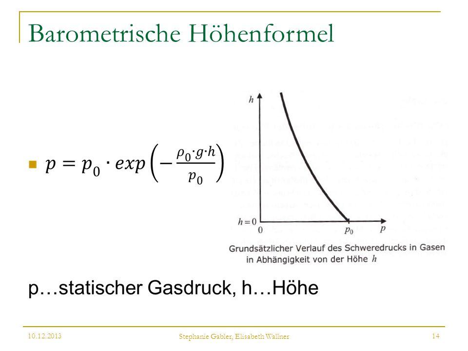 Barometrische Höhenformel 10.12.2013 Stephanie Gabler, Elisabeth Wallner 14