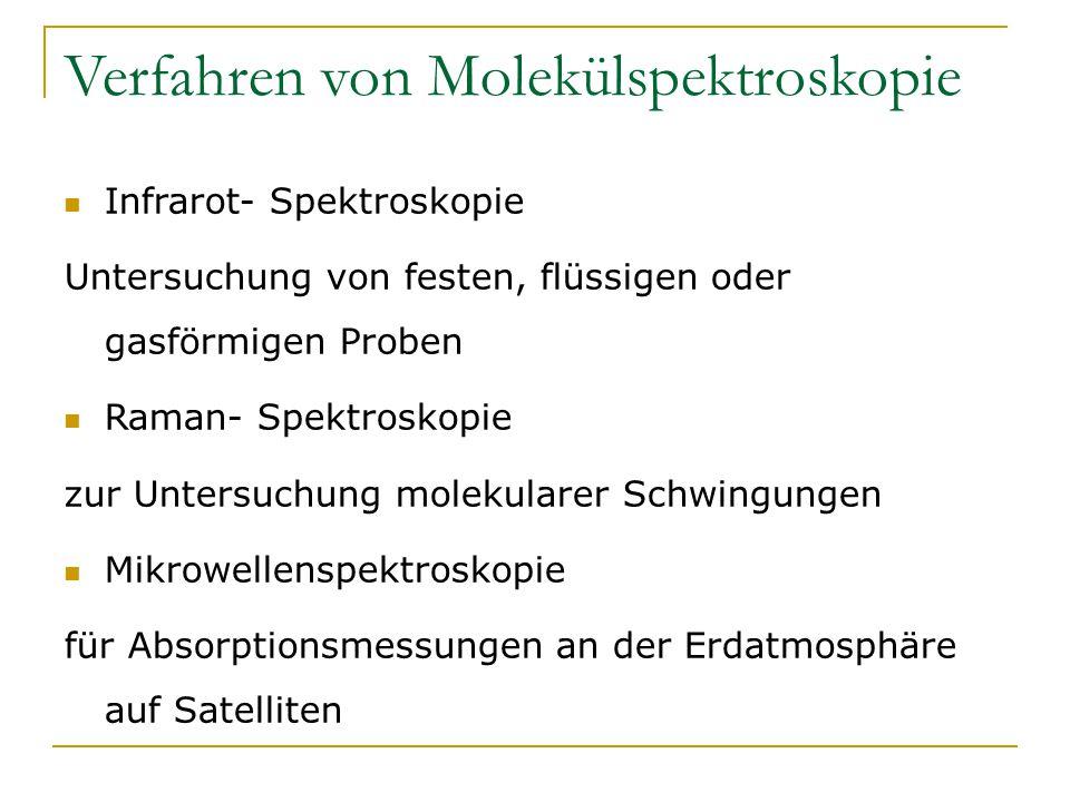 Verfahren von Molekülspektroskopie Infrarot- Spektroskopie Untersuchung von festen, flüssigen oder gasförmigen Proben Raman- Spektroskopie zur Untersu