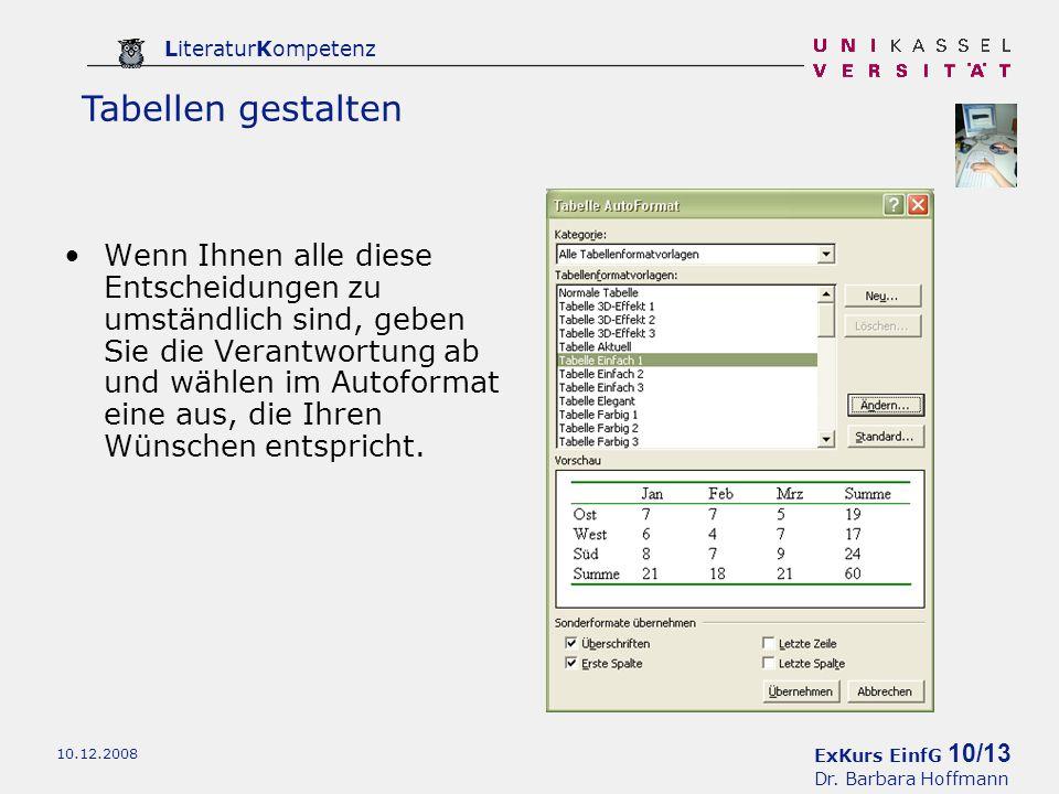 ExKurs EinfG 10/13 Dr. Barbara Hoffmann LiteraturKompetenz 10.12.2008 Wenn Ihnen alle diese Entscheidungen zu umständlich sind, geben Sie die Verantwo