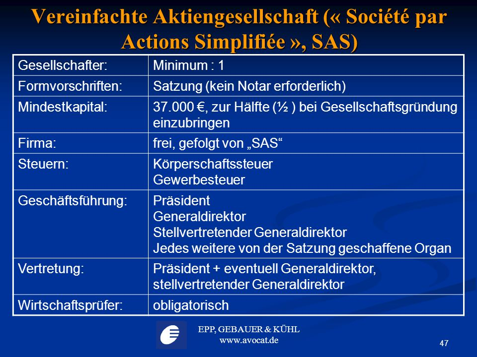 EPP, GEBAUER & KÜHL www.avocat.de 47 Vereinfachte Aktiengesellschaft (« Société par Actions Simplifiée », SAS) Gesellschafter:Minimum : 1 Formvorschri