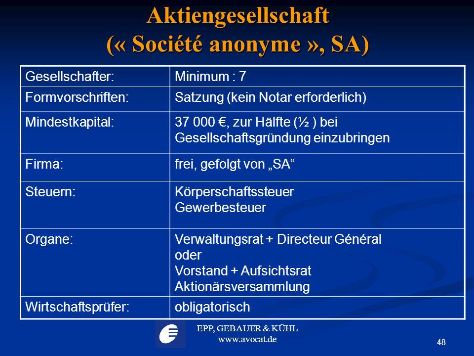 EPP, GEBAUER & KÜHL www.avocat.de 48 Aktiengesellschaft (« Société anonyme », SA) Gesellschafter:Minimum : 7 Formvorschriften:Satzung (kein Notar erfo