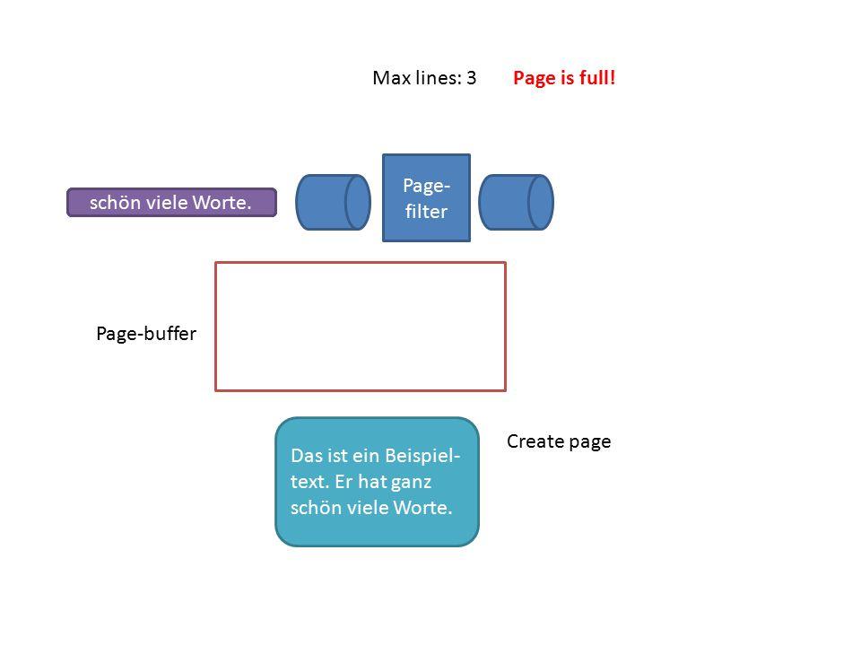 Page- filter Page-buffer Das ist ein Beispiel-Text. Er hat ganzschön viele Worte. Max lines: 3 Create page Das ist ein Beispiel- text. Er hat ganz sch