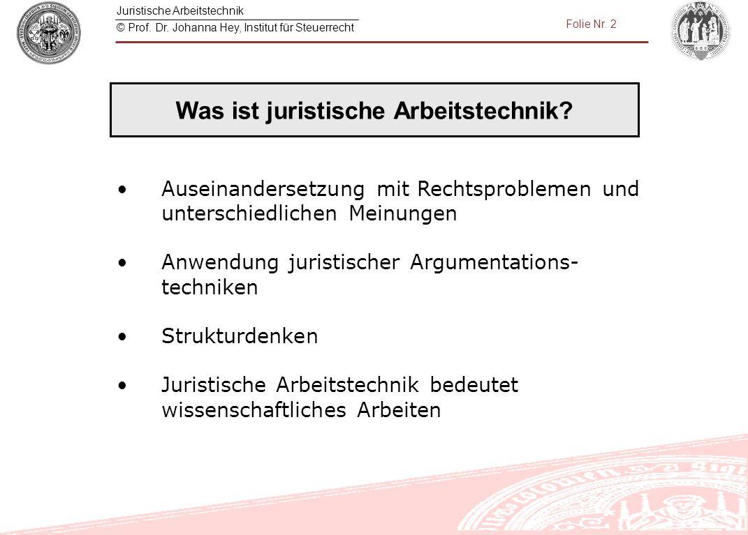 Juristische Arbeitstechnik © Prof. Dr. Johanna Hey, Institut für Steuerrecht Folie Nr. 2 Auseinandersetzung mit Rechtsproblemen und unterschiedlichen