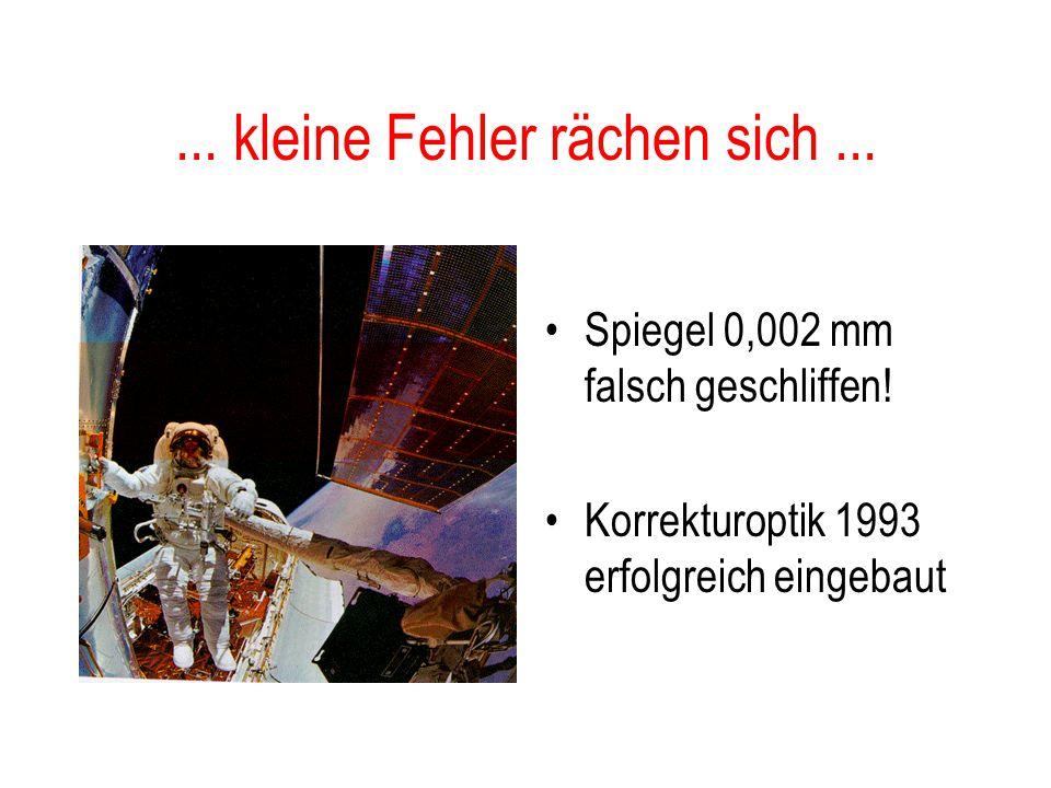 """Hubble-Weltraumteleskop 2.4 m Spiegel 600 km über Erde empfindliche CCD's """"faint object camera"""" Kosten  10 Milliarden $ Hauptspiegel Sonnenschutz"""