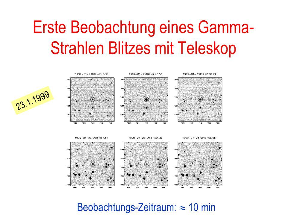 Gamma-Strahlen-Blitze Sehr kurze Ausbrüche (0.01-100 s) Energieabgabe manchmal so hoch wie Rest des Universums! I.A. sehr weit entfernt (Milliarden Li