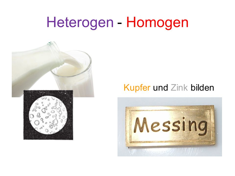 Heterogen - Homogen Kupfer und Zink bilden