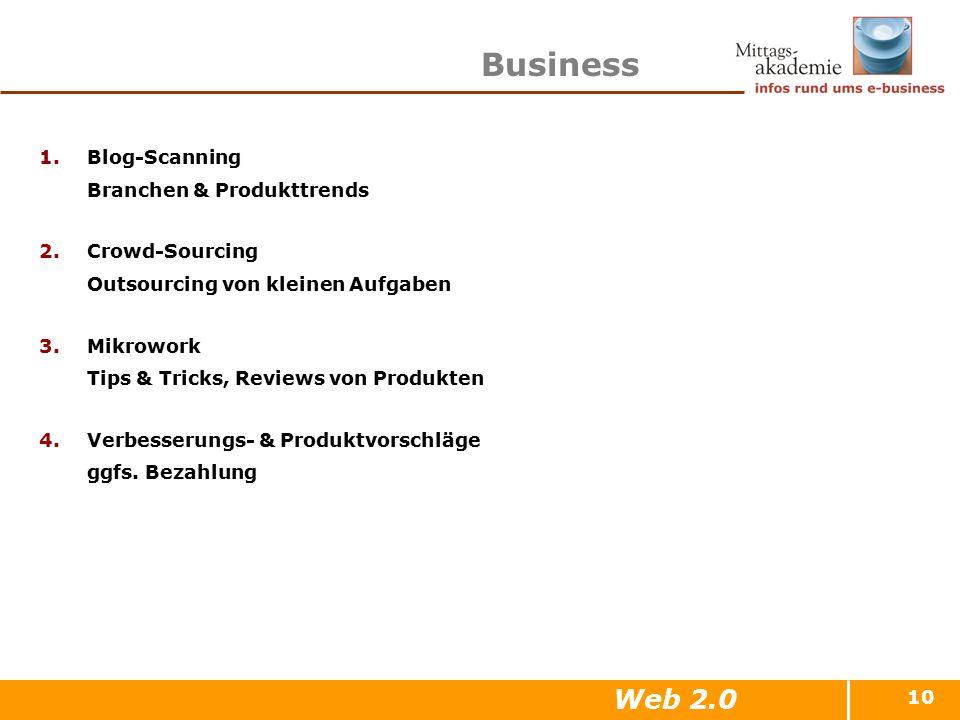10 Business 1.Blog-Scanning Branchen & Produkttrends 2.Crowd-Sourcing Outsourcing von kleinen Aufgaben 3.Mikrowork Tips & Tricks, Reviews von Produkte