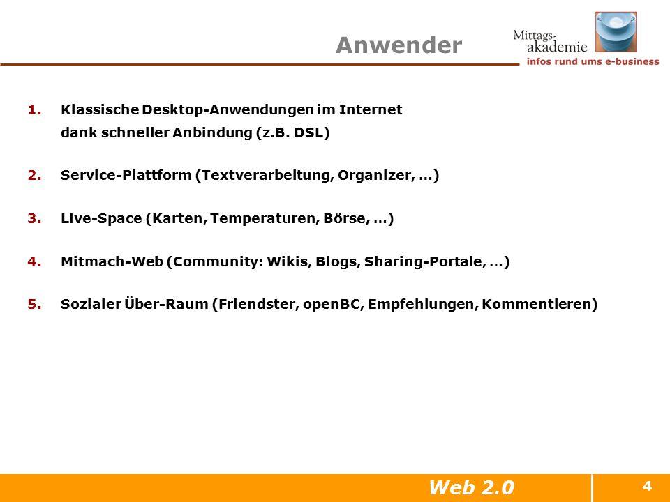 4 Anwender 1.Klassische Desktop-Anwendungen im Internet dank schneller Anbindung (z.B. DSL) 2.Service-Plattform (Textverarbeitung, Organizer, …) 3.Liv