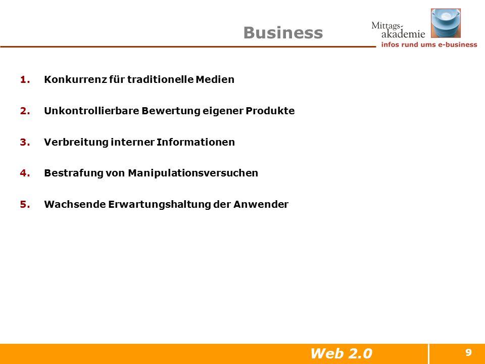 9 Business 1.Konkurrenz für traditionelle Medien 2.Unkontrollierbare Bewertung eigener Produkte 3.Verbreitung interner Informationen 4.Bestrafung von