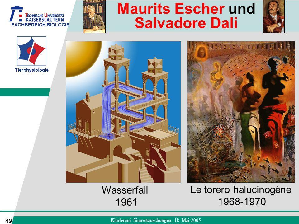 FACHBEREICH BIOLOGIE Tierphysiologie Kinderuni: Sinnestäuschungen, 18. Mai 2005 49 Le torero halucinogène 1968-1970 Wasserfall 1961 Maurits Escher und