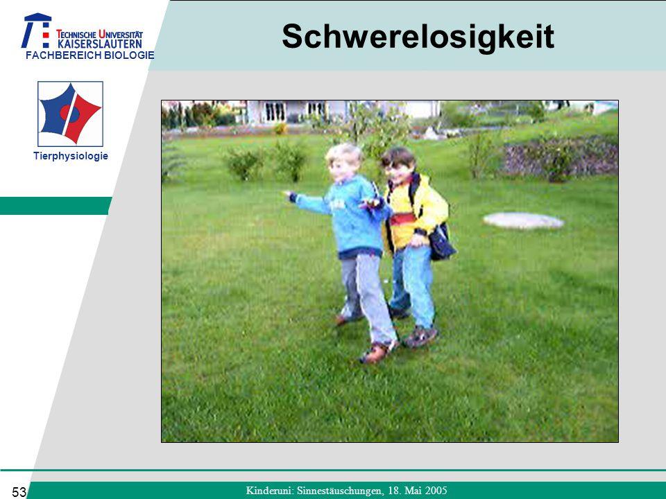 FACHBEREICH BIOLOGIE Tierphysiologie Kinderuni: Sinnestäuschungen, 18. Mai 2005 53 Schwerelosigkeit