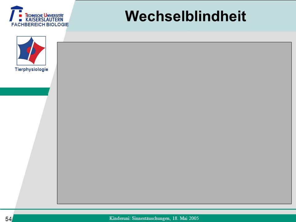 FACHBEREICH BIOLOGIE Tierphysiologie Kinderuni: Sinnestäuschungen, 18. Mai 2005 54 Wechselblindheit