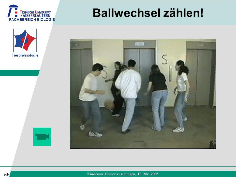 FACHBEREICH BIOLOGIE Tierphysiologie Kinderuni: Sinnestäuschungen, 18. Mai 2005 55 Ballwechsel zählen!