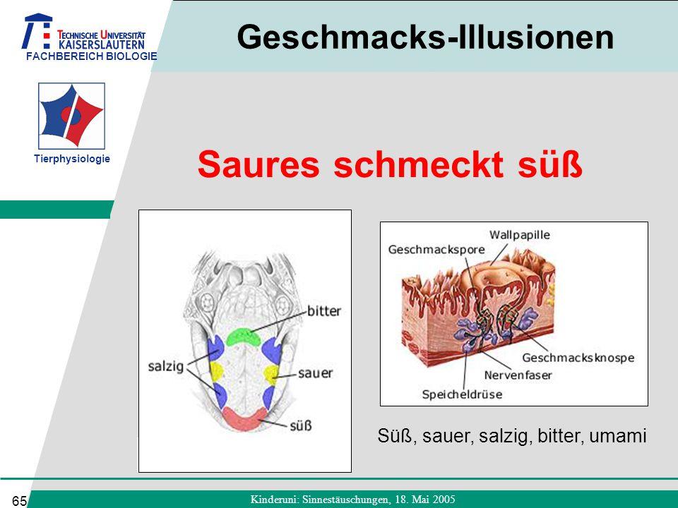 FACHBEREICH BIOLOGIE Tierphysiologie Kinderuni: Sinnestäuschungen, 18. Mai 2005 65 Saures schmeckt süß Geschmacks-Illusionen Süß, sauer, salzig, bitte
