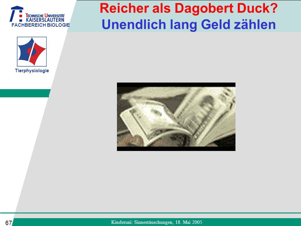 FACHBEREICH BIOLOGIE Tierphysiologie Kinderuni: Sinnestäuschungen, 18. Mai 2005 67 Reicher als Dagobert Duck? Unendlich lang Geld zählen