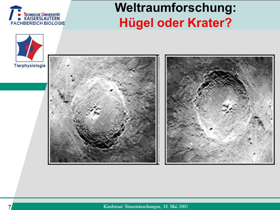 FACHBEREICH BIOLOGIE Tierphysiologie Kinderuni: Sinnestäuschungen, 18. Mai 2005 7 Weltraumforschung: Hügel oder Krater?
