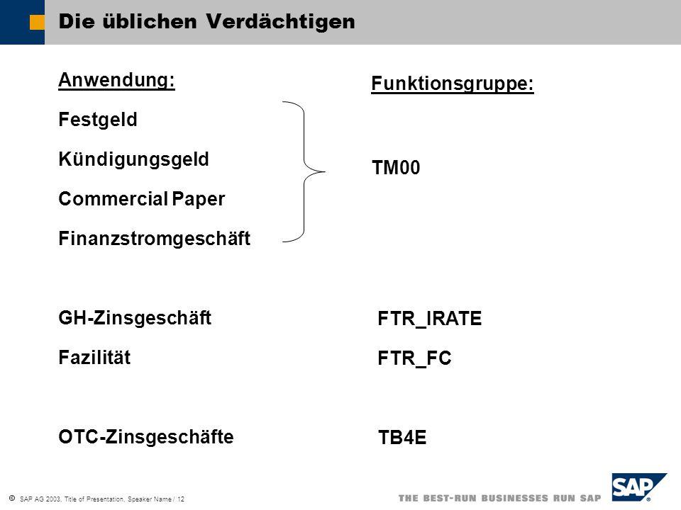  SAP AG 2003, Title of Presentation, Speaker Name / 12 Die üblichen Verdächtigen Anwendung: Festgeld Kündigungsgeld Commercial Paper Finanzstromgesch