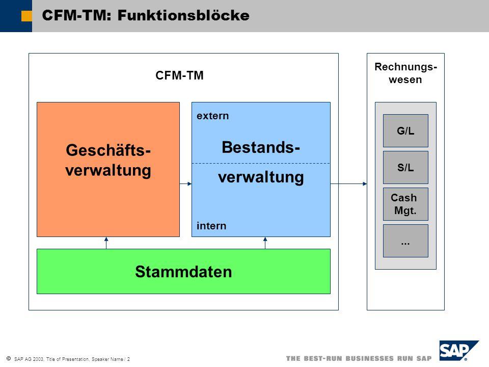  SAP AG 2003, Title of Presentation, Speaker Name / 2 CFM-TM: Funktionsblöcke G/L S/L Cash Mgt.... Geschäfts- verwaltung Bestands- verwaltung Stammda