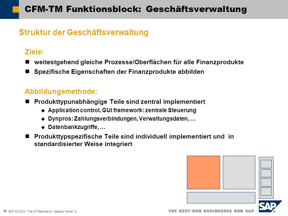  SAP AG 2003, Title of Presentation, Speaker Name / 3 CFM-TM Funktionsblock: Geschäftsverwaltung Struktur der Geschäftsverwaltung Ziele: weitestgehen