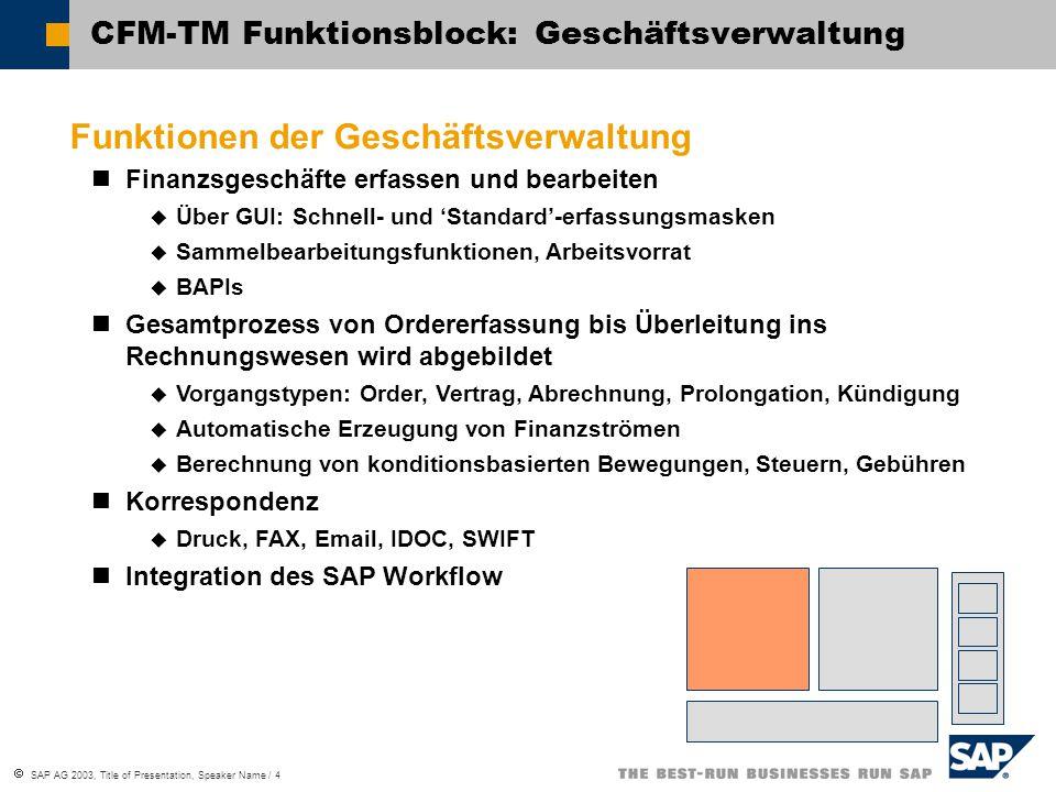  SAP AG 2003, Title of Presentation, Speaker Name / 4 CFM-TM Funktionsblock: Geschäftsverwaltung Funktionen der Geschäftsverwaltung Finanzsgeschäfte