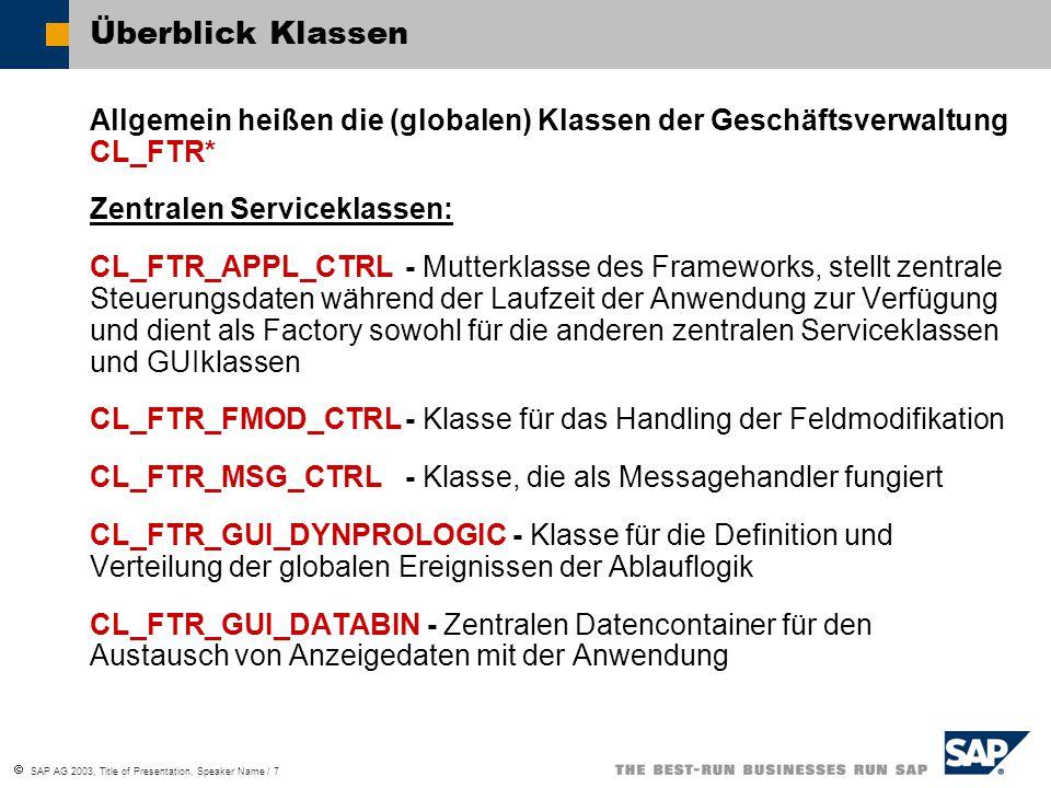  SAP AG 2003, Title of Presentation, Speaker Name / 7 Überblick Klassen Allgemein heißen die (globalen) Klassen der Geschäftsverwaltung CL_FTR* Zentr