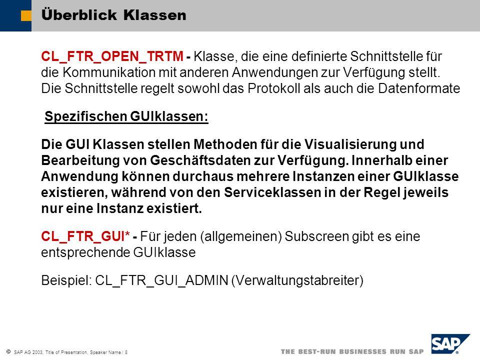  SAP AG 2003, Title of Presentation, Speaker Name / 8 Überblick Klassen CL_FTR_OPEN_TRTM - Klasse, die eine definierte Schnittstelle für die Kommunik
