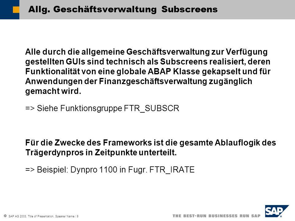  SAP AG 2003, Title of Presentation, Speaker Name / 9 Allg. Geschäftsverwaltung Subscreens Alle durch die allgemeine Geschäftsverwaltung zur Verfügun