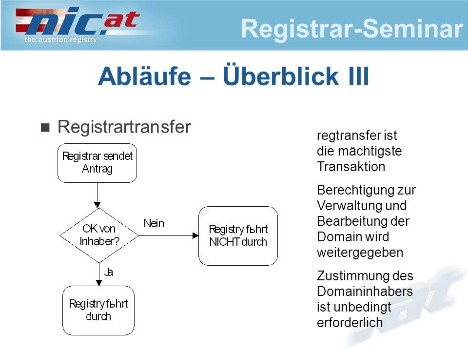 Registrar-Seminar Abläufe – Überblick III Registrartransfer regtransfer ist die mächtigste Transaktion Berechtigung zur Verwaltung und Bearbeitung der Domain wird weitergegeben Zustimmung des Domaininhabers ist unbedingt erforderlich