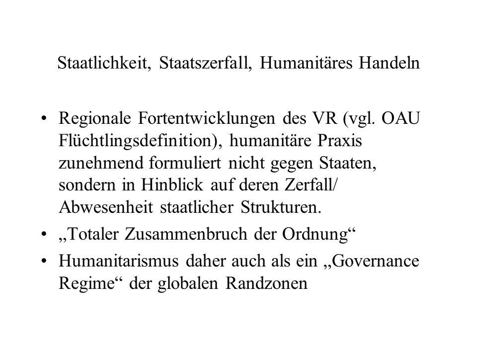 Staatlichkeit, Staatszerfall, Humanitäres Handeln Regionale Fortentwicklungen des VR (vgl.