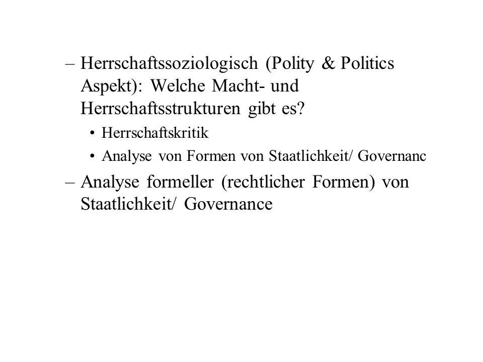 –Herrschaftssoziologisch (Polity & Politics Aspekt): Welche Macht- und Herrschaftsstrukturen gibt es.