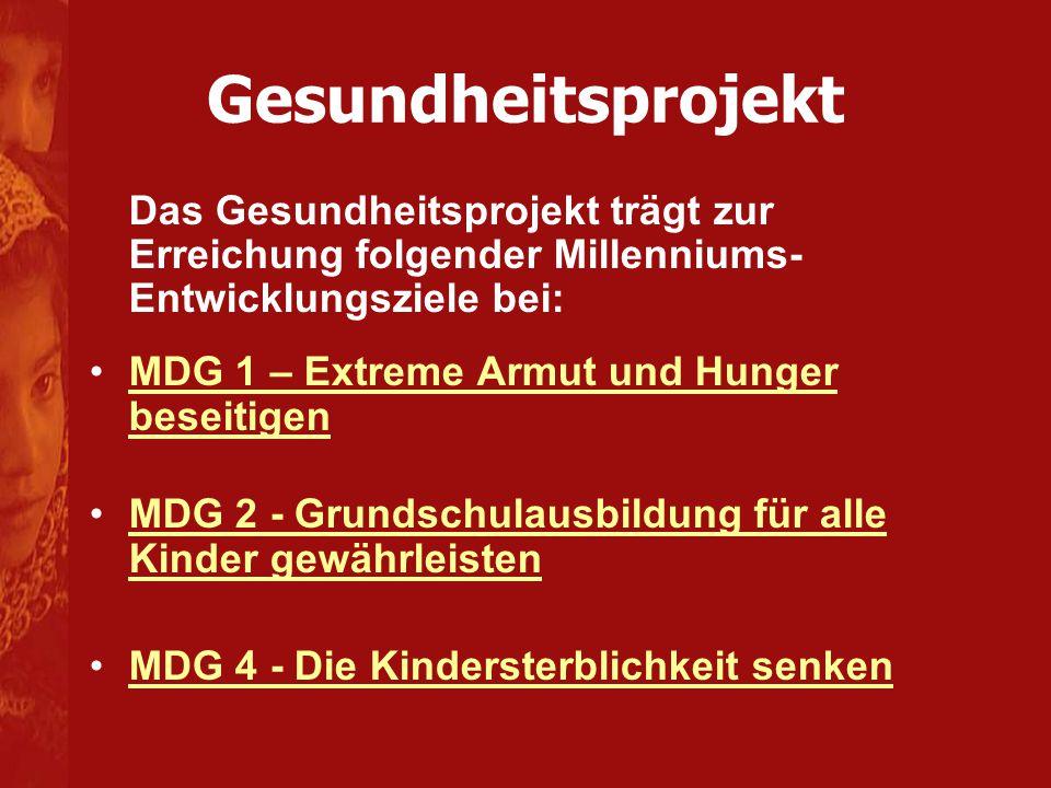 Das Gesundheitsprojekt trägt zur Erreichung folgender Millenniums- Entwicklungsziele bei: MDG 1 – Extreme Armut und Hunger beseitigenMDG 1 – Extreme A
