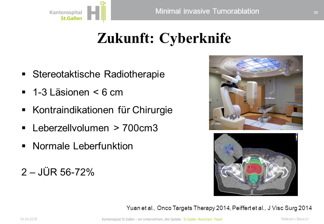 Minimal invasive Tumorablation 04.04.2015 Referent / Bereich 20 Yuan et al., Onco Targets Therapy 2014, Peiffert et al., J Visc Surg 2014 Zukunft: Cyb