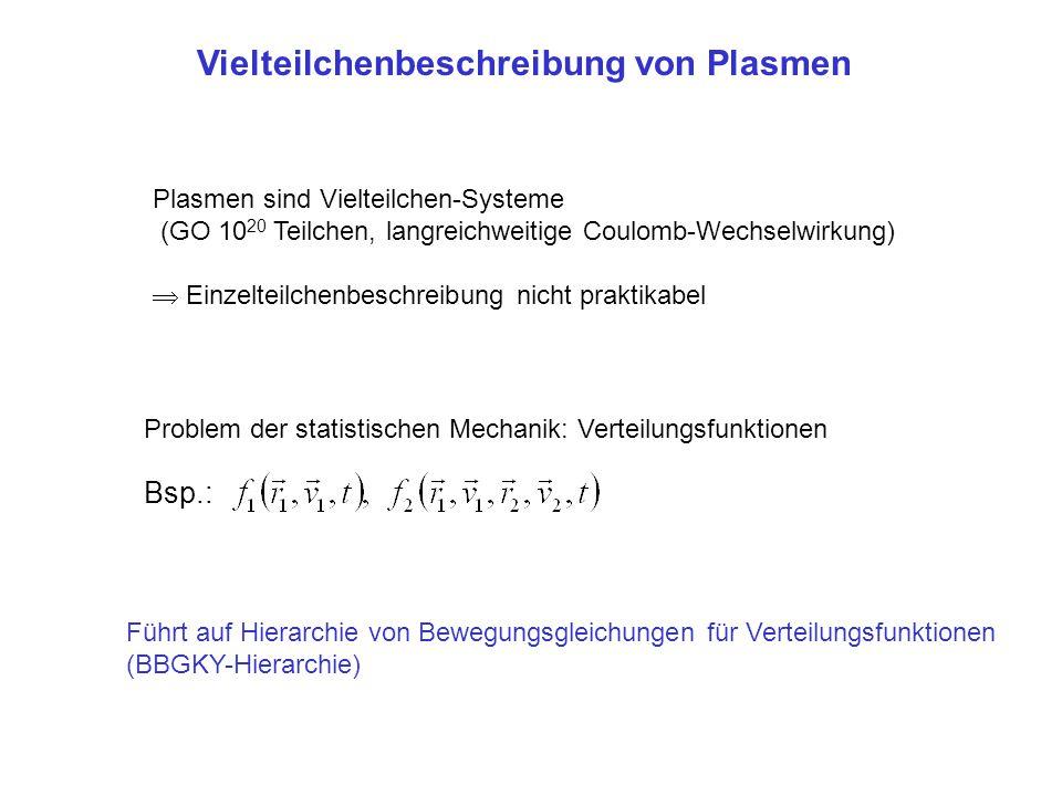 Vielteilchenbeschreibung von Plasmen Plasmen sind Vielteilchen-Systeme (GO 10 20 Teilchen, langreichweitige Coulomb-Wechselwirkung)  Einzelteilchenbe
