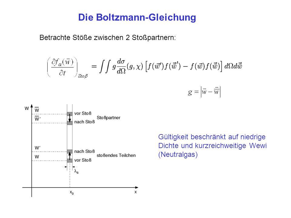 Betrachte Stöße zwischen 2 Stoßpartnern: Die Boltzmann-Gleichung Gültigkeit beschränkt auf niedrige Dichte und kurzreichweitige Wewi (Neutralgas)