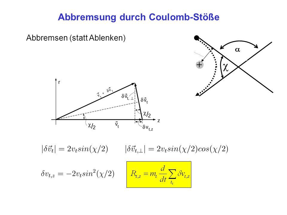 Abbremsung durch Coulomb-Stöße Abbremsen (statt Ablenken) +  