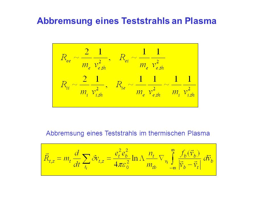 Abbremsung eines Teststrahls im thermischen Plasma Abbremsung eines Teststrahls an Plasma