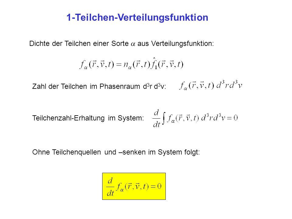 1-Teilchen-Verteilungsfunktion Dichte der Teilchen einer Sorte  aus Verteilungsfunktion: Zahl der Teilchen im Phasenraum d 3 r d 3 v: Teilchenzahl-Er