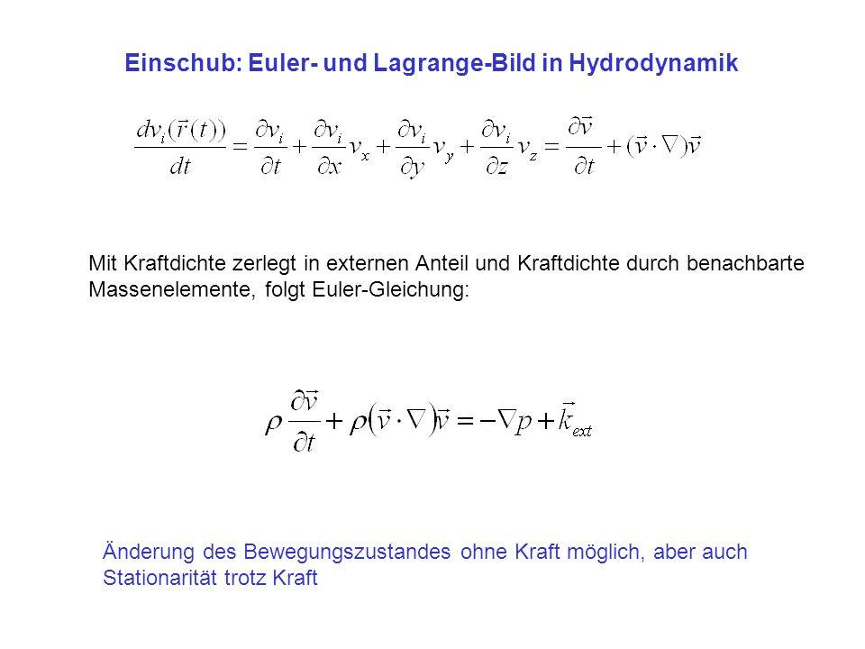 Einschub: Euler- und Lagrange-Bild in Hydrodynamik Mit Kraftdichte zerlegt in externen Anteil und Kraftdichte durch benachbarte Massenelemente, folgt