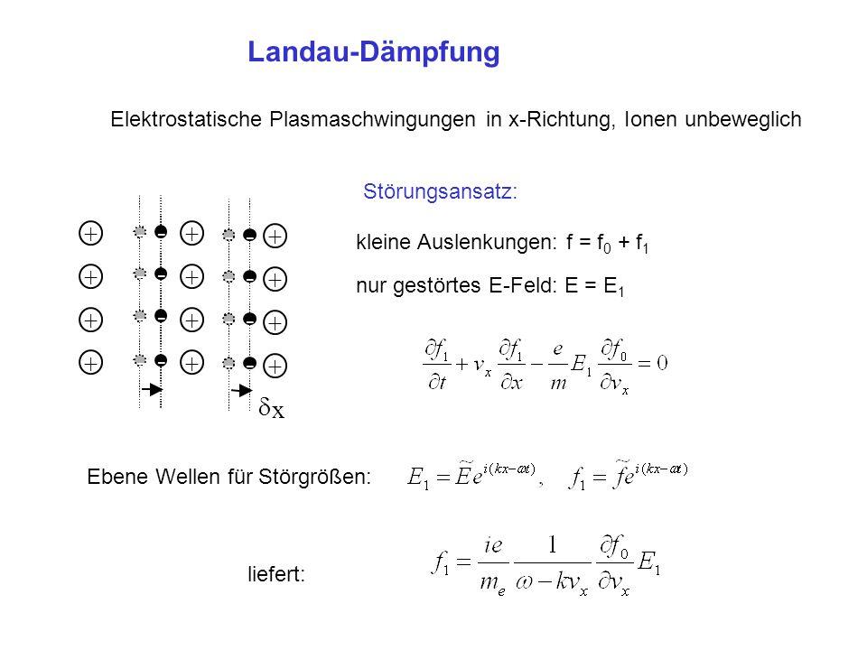 Landau-Dämpfung Elektrostatische Plasmaschwingungen in x-Richtung, Ionen unbeweglich + + + + + + + +  x - - - - - - - - + + + + - - - - - - - - klein