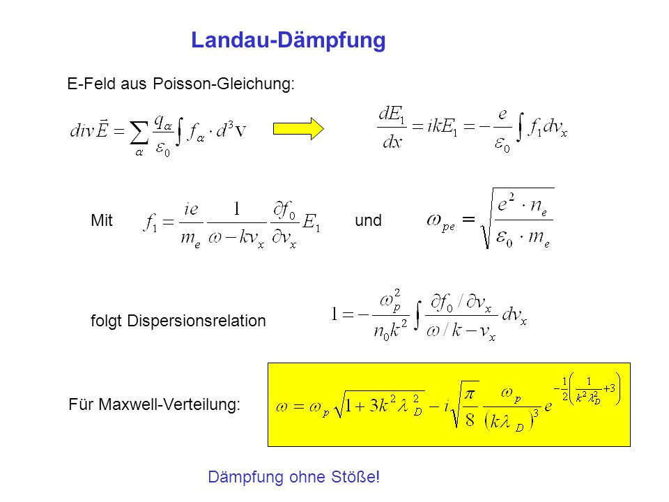 Prozess selbst ist stoßfrei, aber man braucht Stöße, um Verteilungsfunktion wiederherzustellen , Dämpfungsrate bleibt stoßfrei Dämpfungsrate kann negativ werden -> Instabilitäten Landau-Dämpfung Anschauliches Beispiel für nichtlineare Landau-Dämpfung