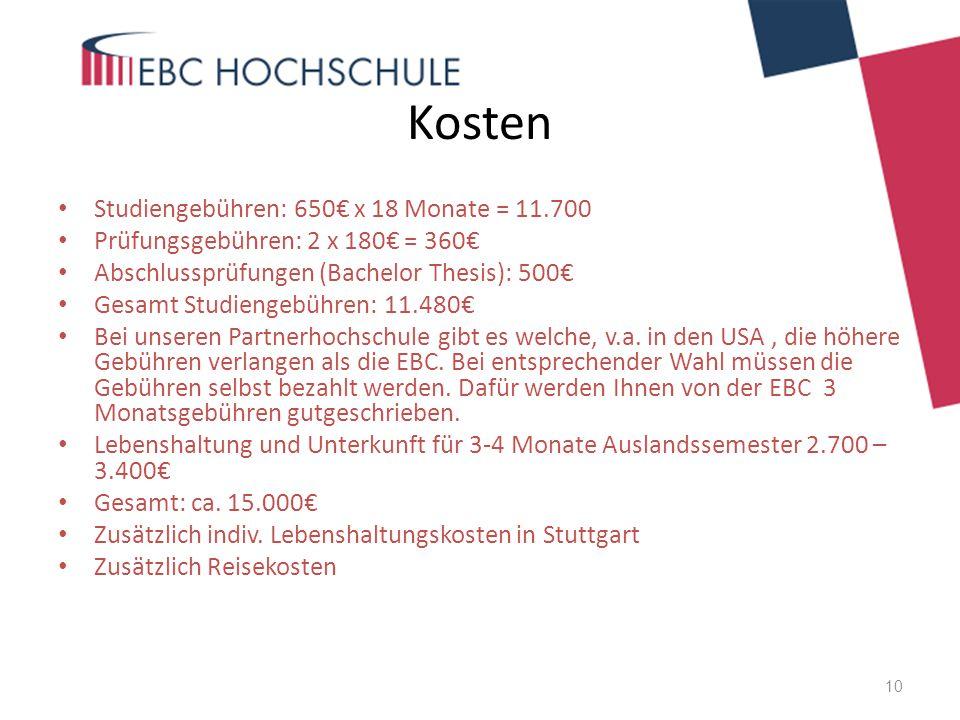 Kosten Studiengebühren: 650€ x 18 Monate = 11.700 Prüfungsgebühren: 2 x 180€ = 360€ Abschlussprüfungen (Bachelor Thesis): 500€ Gesamt Studiengebühren: