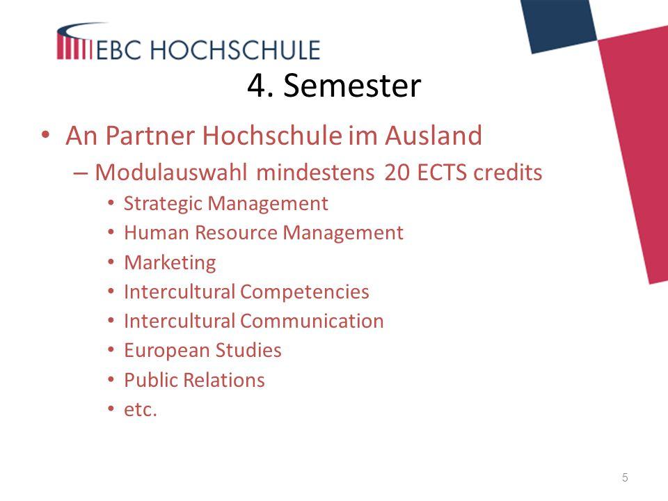 4. Semester An Partner Hochschule im Ausland – Modulauswahl mindestens 20 ECTS credits Strategic Management Human Resource Management Marketing Interc