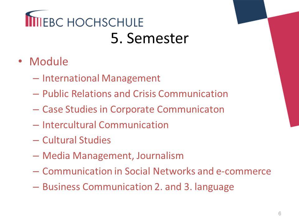 5. Semester Module – International Management – Public Relations and Crisis Communication – Case Studies in Corporate Communicaton – Intercultural Com